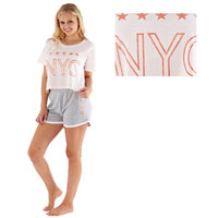 Ladies NYC Crop Top Shortie Pyjamas