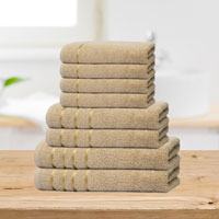 Bear & Panda 8 Piece Cotton Towel Bale Beige