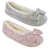 Ladies Soft Knitted Slippers With Bow Trim