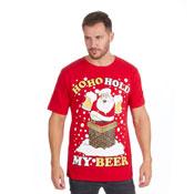 Christmas T-Shirt Red Santa HoHoHo Beer