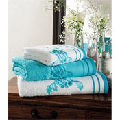Egyptian Cotton Belvoir Bath Towels White with Turquoise Trim