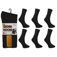 Mens Work Socks Plain Black