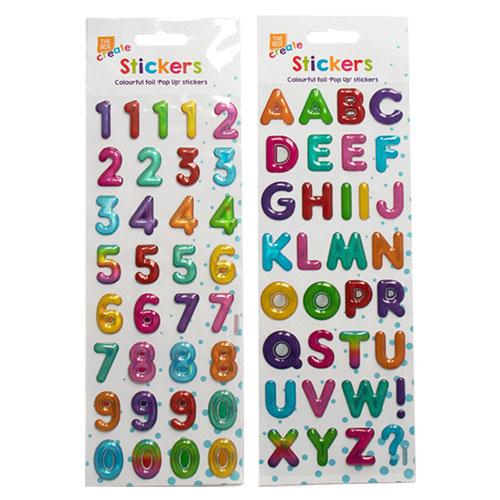 Bright Pop Up Alphabet - Number Stickers