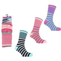Ladies 3 Pack Exquisite Thermal Socks Stripe