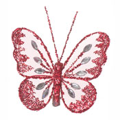 Glitter Mesh Butterfly Red Large