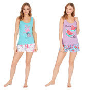 Ladies Shortie Pyjamas Melon/Flamingo Print