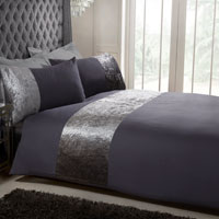 Luxury Velvet Cuff Duvet Set Charcoal
