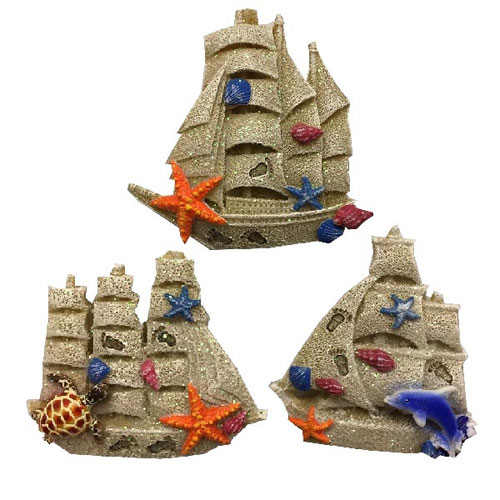 Novelty Ship Magnet With Sand Finish