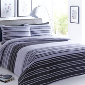 Textured Stripe Black/Grey Reversible Duvet Set
