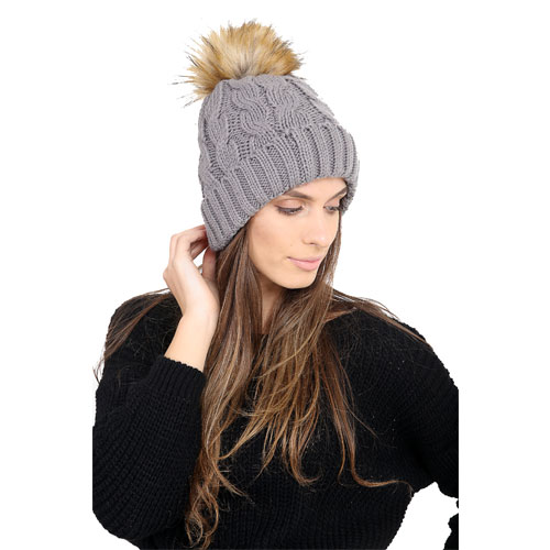 Ladies Natural Pom Pom Hat Cosy Lining Carton Price