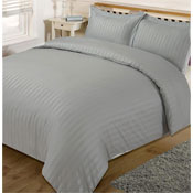 Satin Stripe Silver Duvet Set