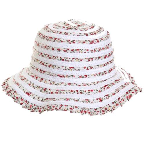 Ladies Short Brim Straw Hat With Ribbon Weave