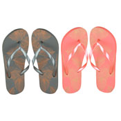 Ladies Golden Feather Flip Flop Grey/Pink