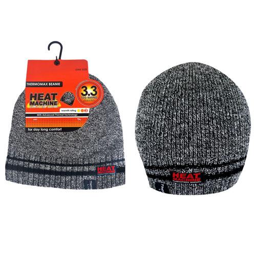 Mens Heat Machine Thermal Hat Grey