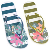 Ladies Floral And Stripe Print Flip Flop