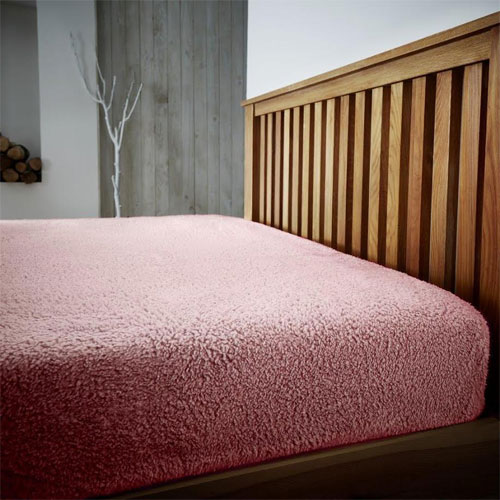 Super Soft Teddy Feel Fitted Bed Sheet Pink
