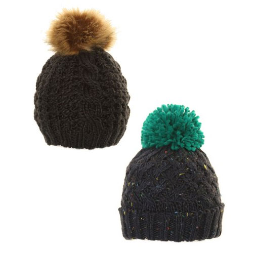 Boys Speckle Chunky Knit Bobble Hat With Pom Pom