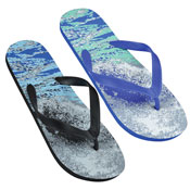 Mens Waves Print Flip Flop Black/Blue