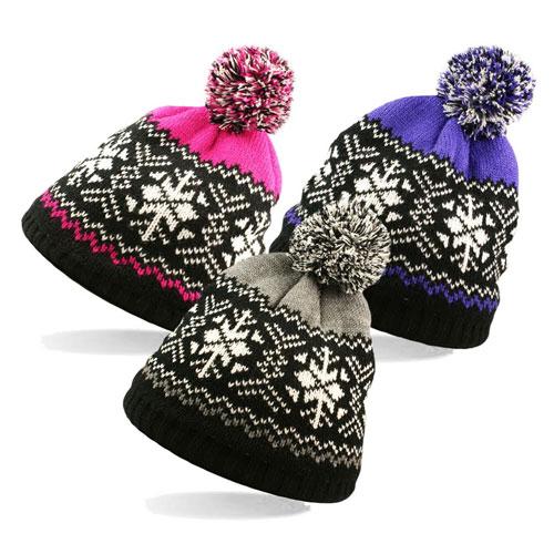 Adult Snowflake Soft Knit Hat With Pom Pom