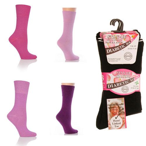 Ladies Diabetic Socks Non Elastic Assorted