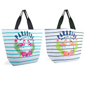Paradise Beach Club Striped Canvas Bag