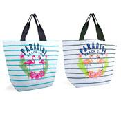 Paradise Beach Club Striped Canvas Bag