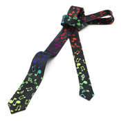 Black Tie With Music Notes Multi Coloured