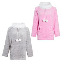 Supersoft Fleece Top with Pom Poms