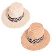 Ladies Straw Fedora Hat With Aztec Print Band