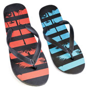 Mens Stripe Palm Tree Flip Flop