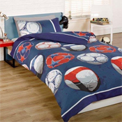 Childrens Fun Filled Bedding - Football Blue