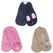 Ladies Soft Fleece Ballet Slippers Animals