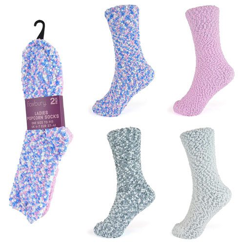 Ladies 2 Pack Popcorn Slipper Socks