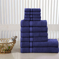 10 Piece Luxury Towel Bale Set With Ribbon Navy