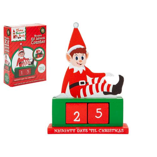 Wooden Elf Christmas Advent Countdown Calendar