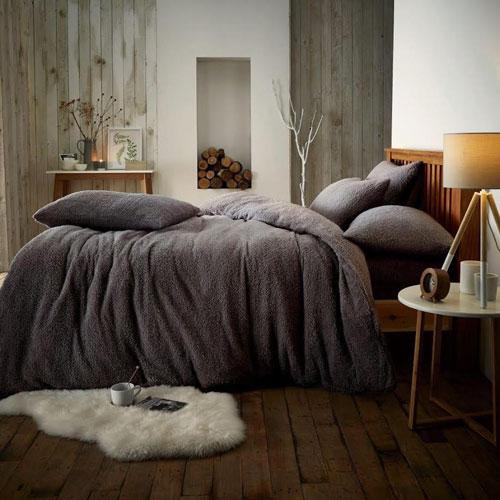 Super Soft Teddy Feel Duvet Set Charcoal