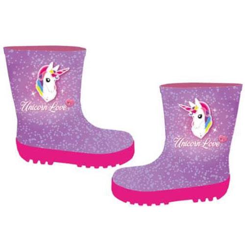 Childrens Glitter Unicorn Wellies