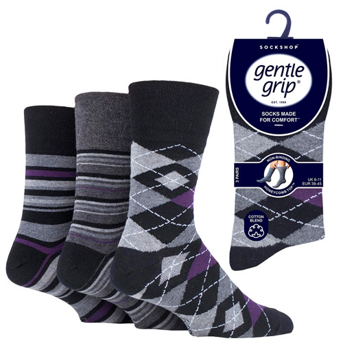 Mens Gentle Grip Socks Argyle Formali