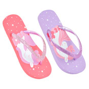 Girls Unicorn Design Flip Flops Pink/Lilac