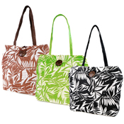 Leaf Print Button Beach/Swim Bag