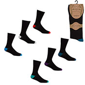 Mens Non Elastic Bamboo Socks Coloured Heel/Toe