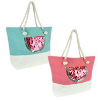 Canvas Paperstraw Panel Sequin Watermelon Bag