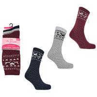 Ladies 3 Pack Exquisite Thermal Socks Reindeer