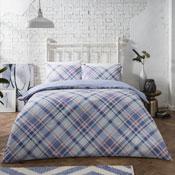 Diagonal Check Blue Duvet Set