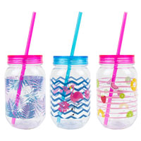 Mason Drinking Jar With Straw