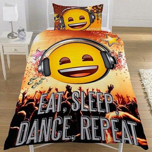 Official Emoji Eat Sleep Dance Repeat Duvet Set