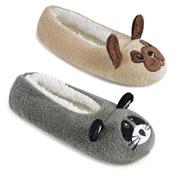 Ladies Soft Fleece Ballet Slippers Novelty Animals