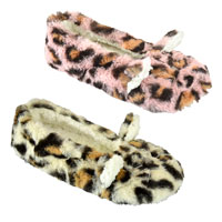 Ladies Leopard Print Fur Ballet Slippers