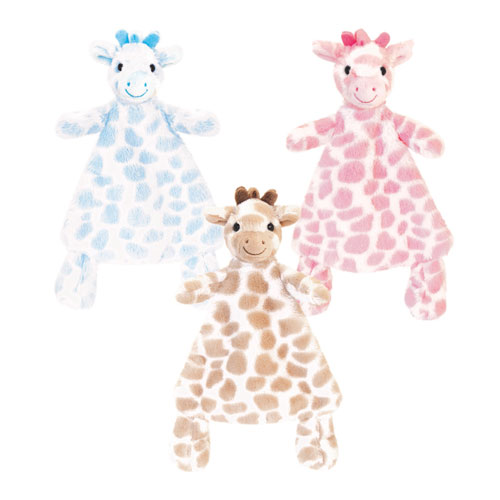 25cm Snuggle Giraffe Assorted Blanket