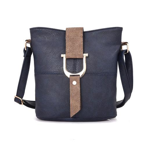 Ladies Audrey Bucket Crossbody Bag Navy